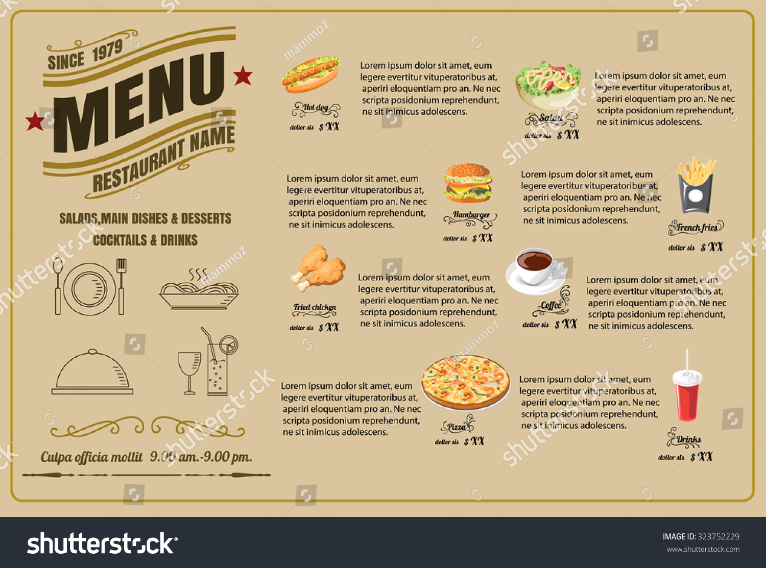 restaurant food menu design vector format のベクター画像素材