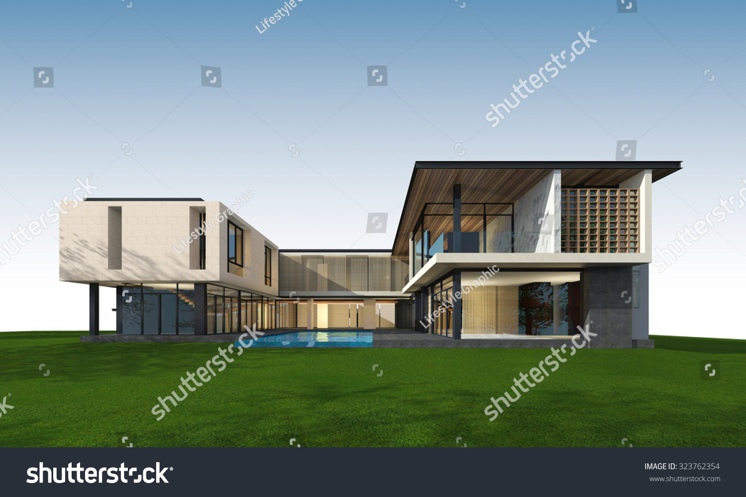 3 d rendering tropical house exterior clipping stock illustration 3d rendering of tropical house exterior with clipping path malvernweather Choice Image