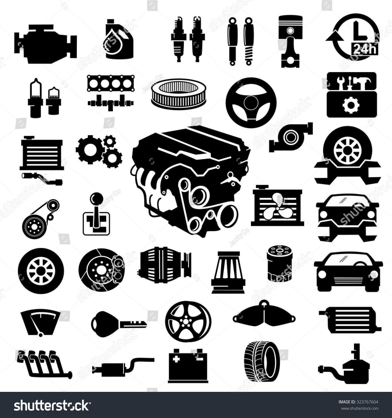 Tractor Parts Icon : Vector car parts set icons stock