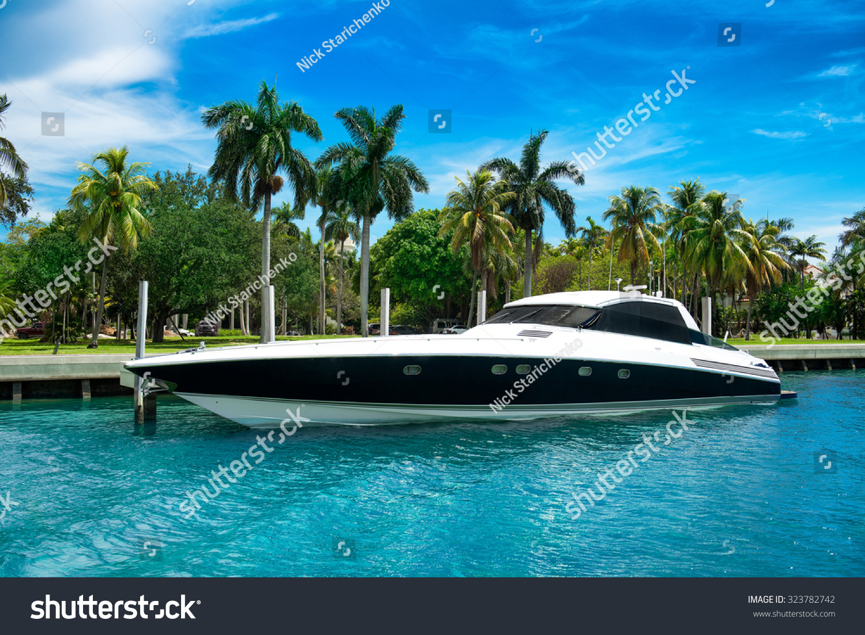 Luxury Speed Yacht Near Tropical Island In Miami Florida