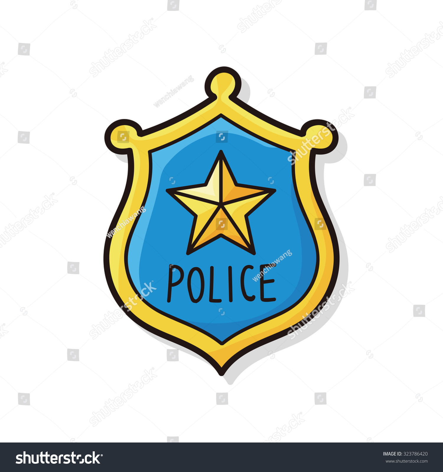 police badge doodle stock vector hd royalty free 323786420 rh shutterstock com police badge clipart vector police badge vector art free