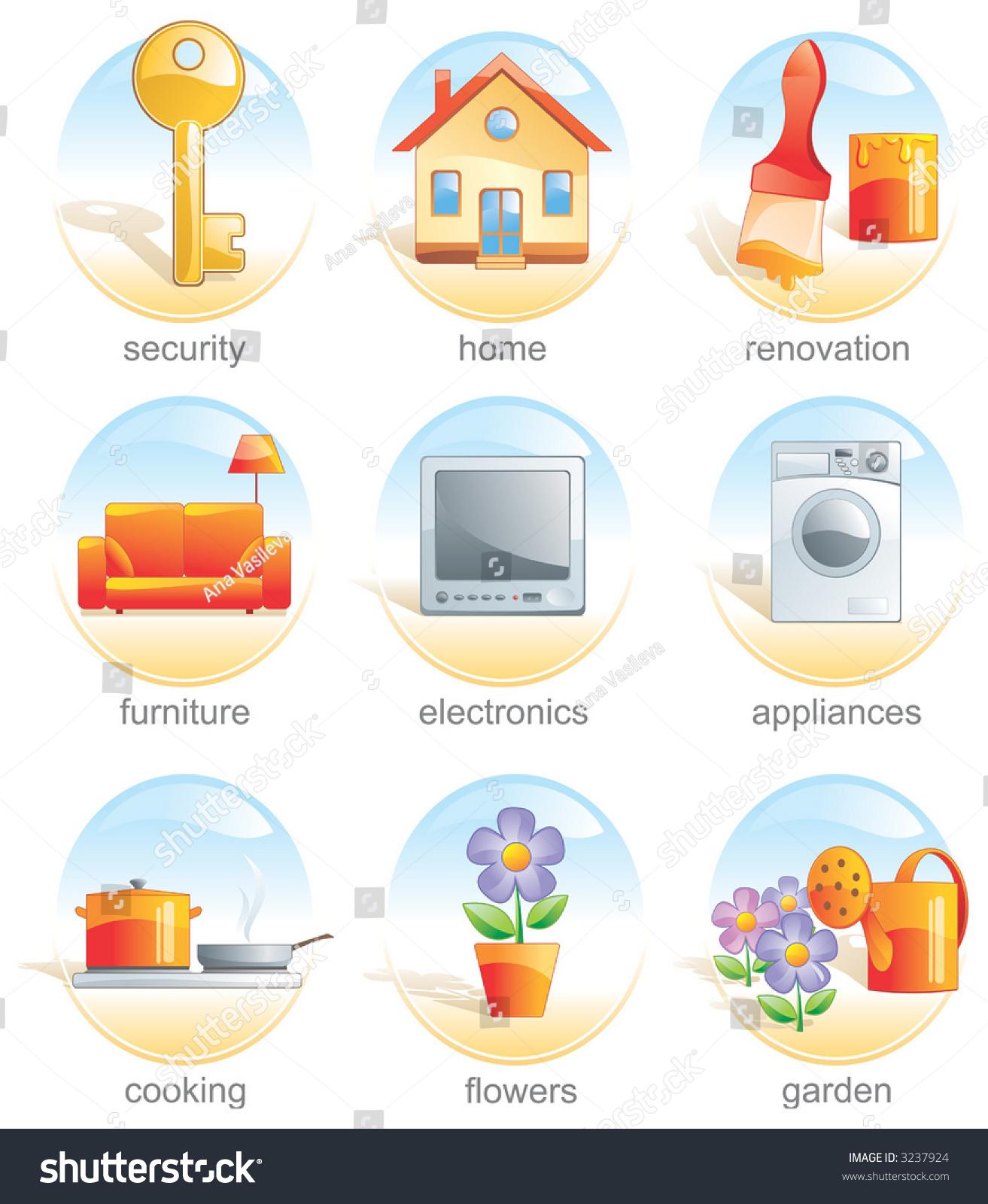 icon set home key renovate furniture electronics appliance cook