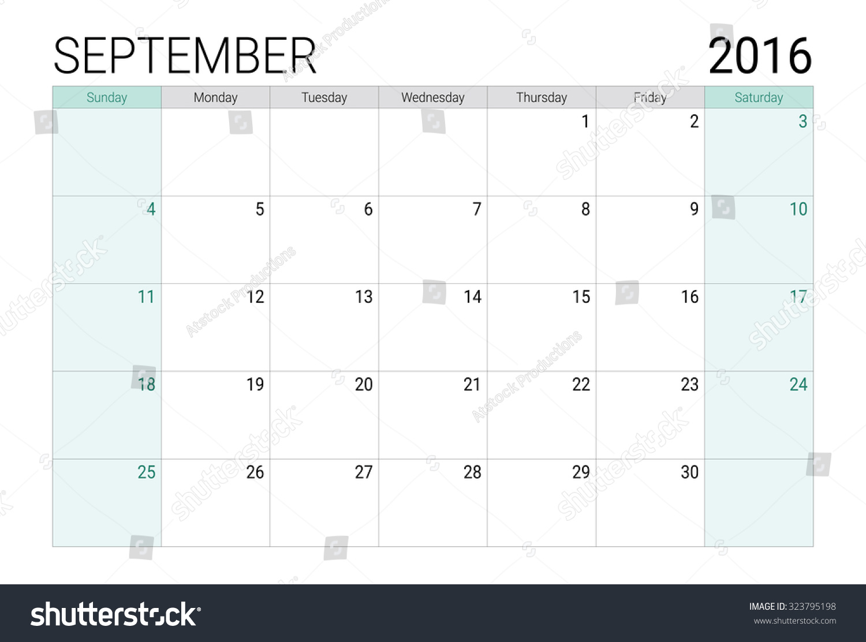 September 2016 Calendar Or Desk Planner Stock Vector Royalty Free