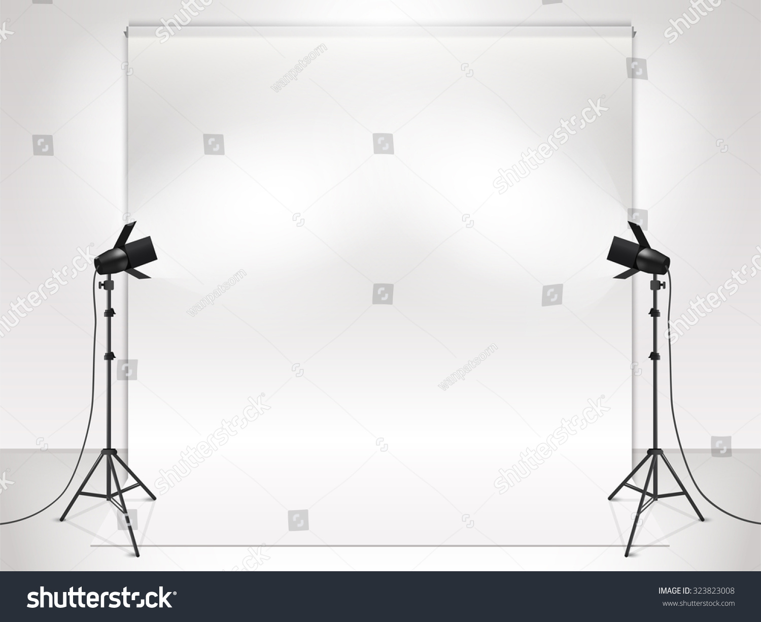 Photography Studio Lighting Equipment Backdrop Vector Stock Diagram With And