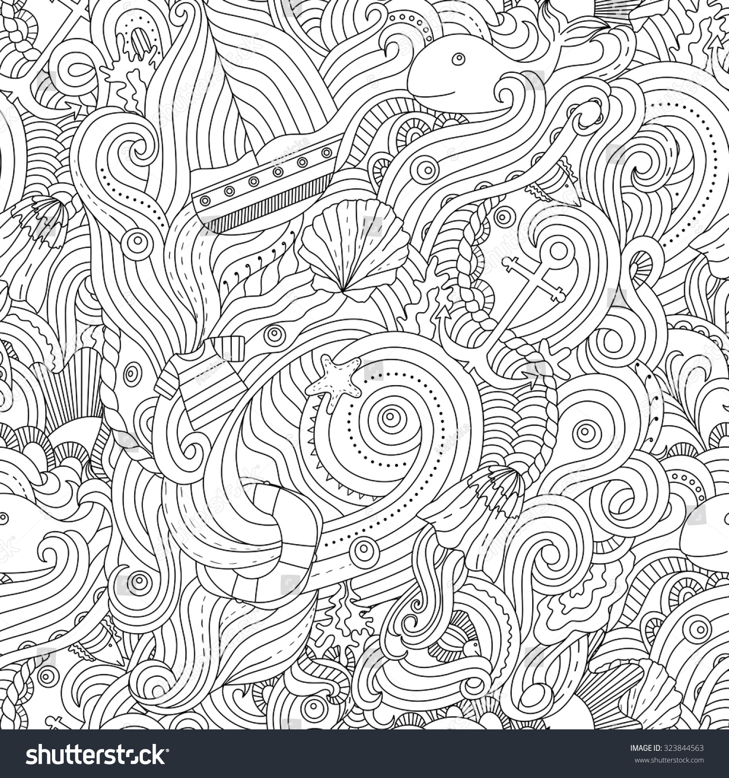 Nautical pattern adult coloring page stock vector for Nautical coloring pages