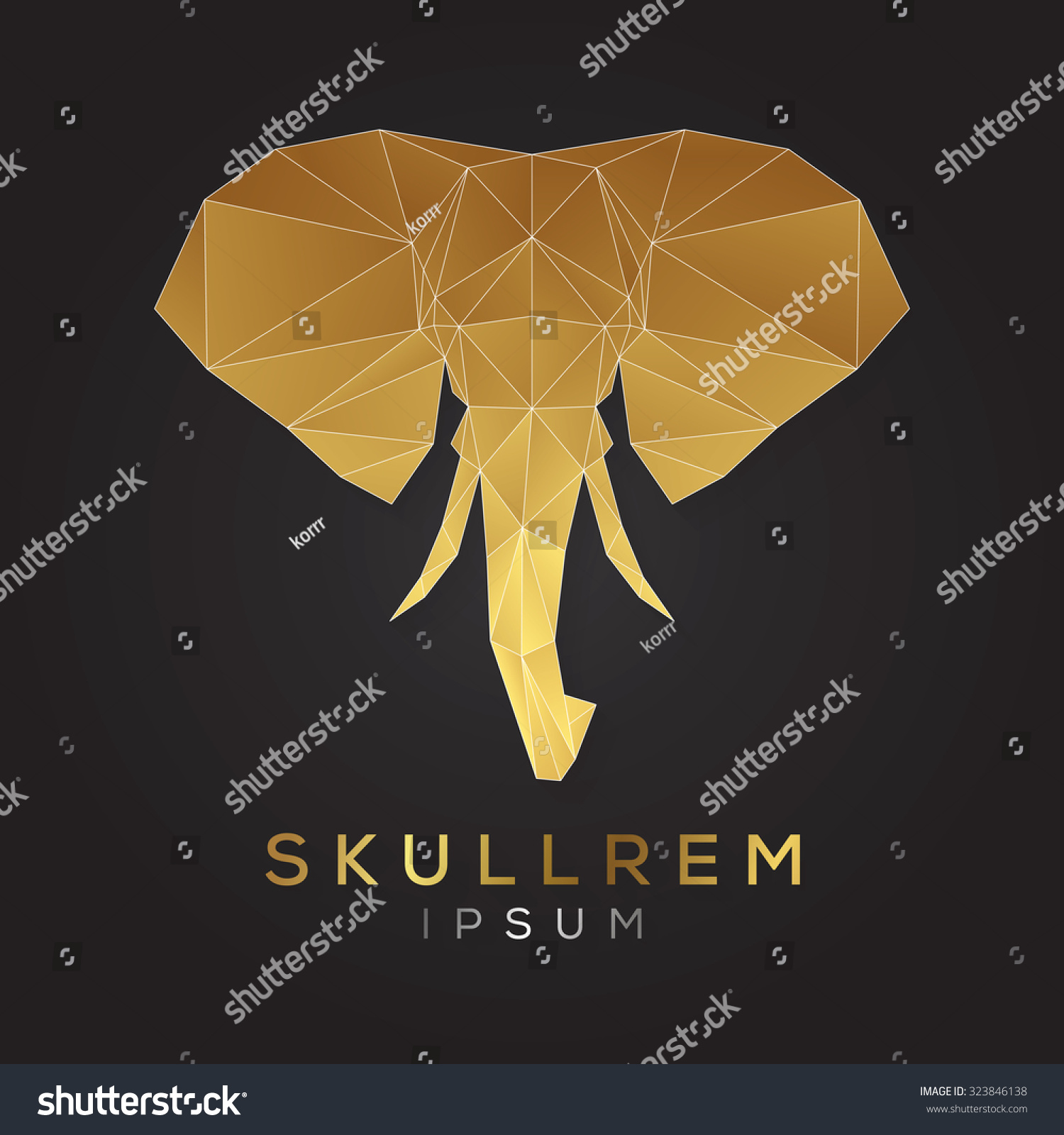elephant face logo template business abstract stock vector