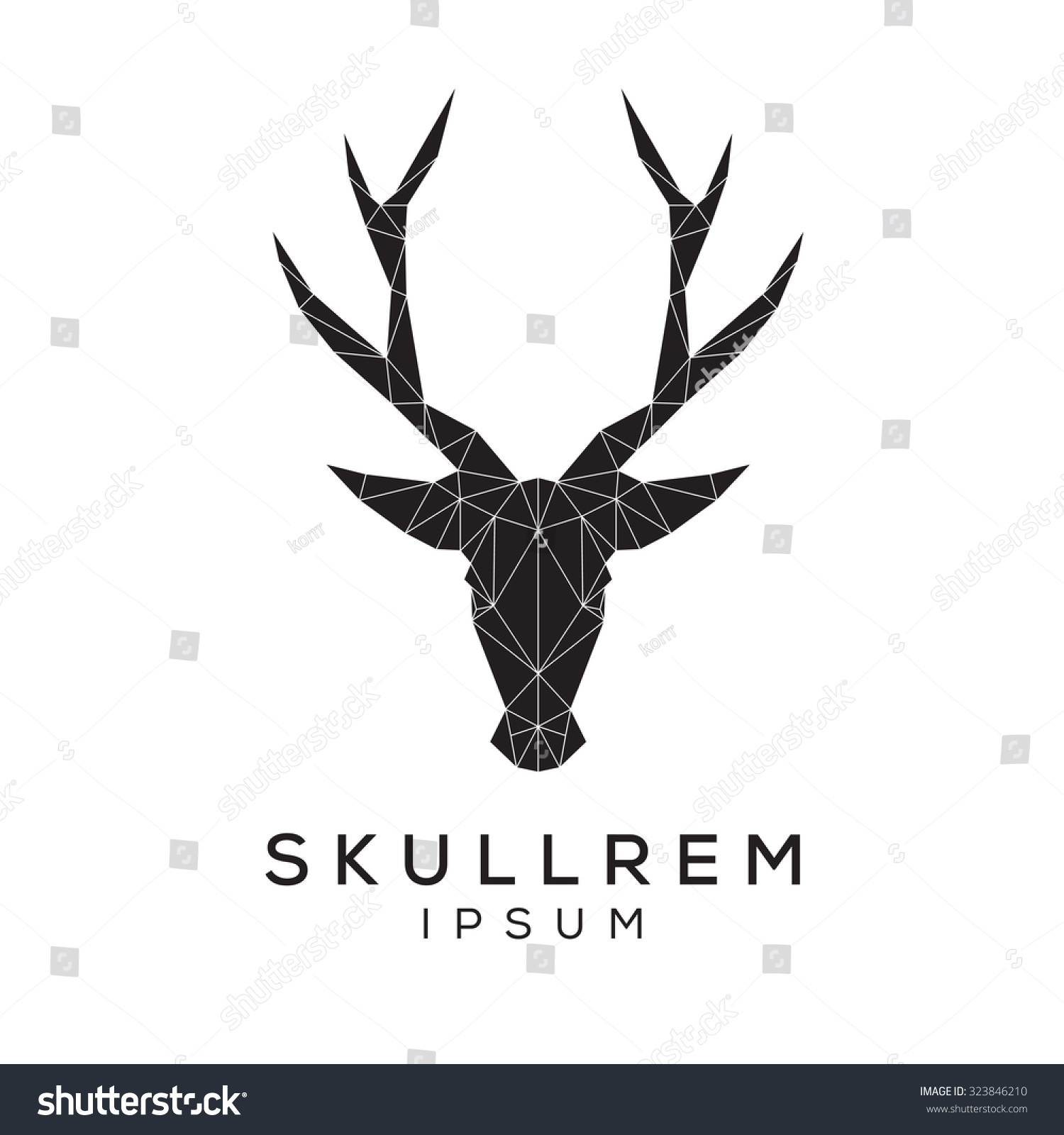 Deer face logo template for business. Abstract deer head with grid ...