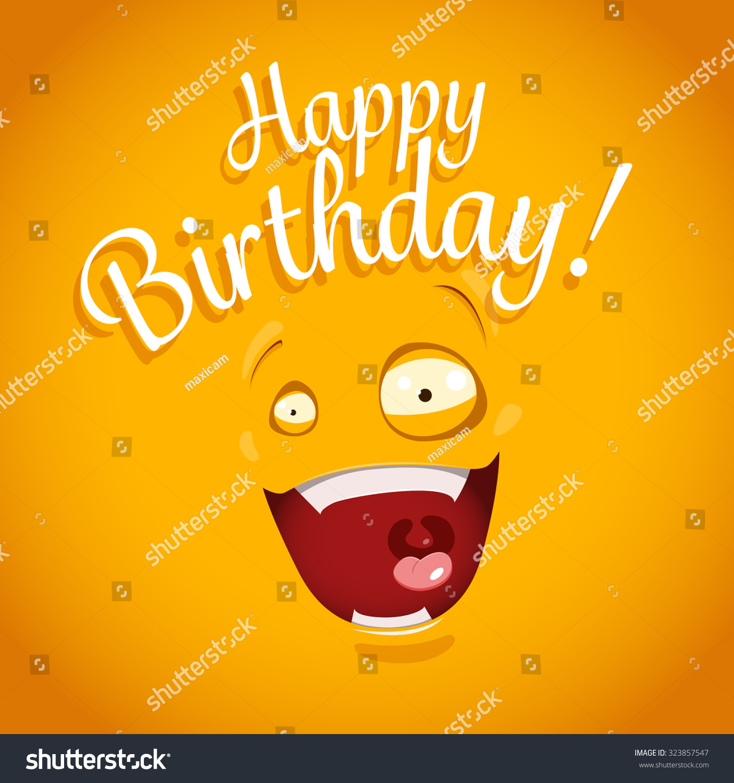 Happy Birthday card with funny cartoon emotion face