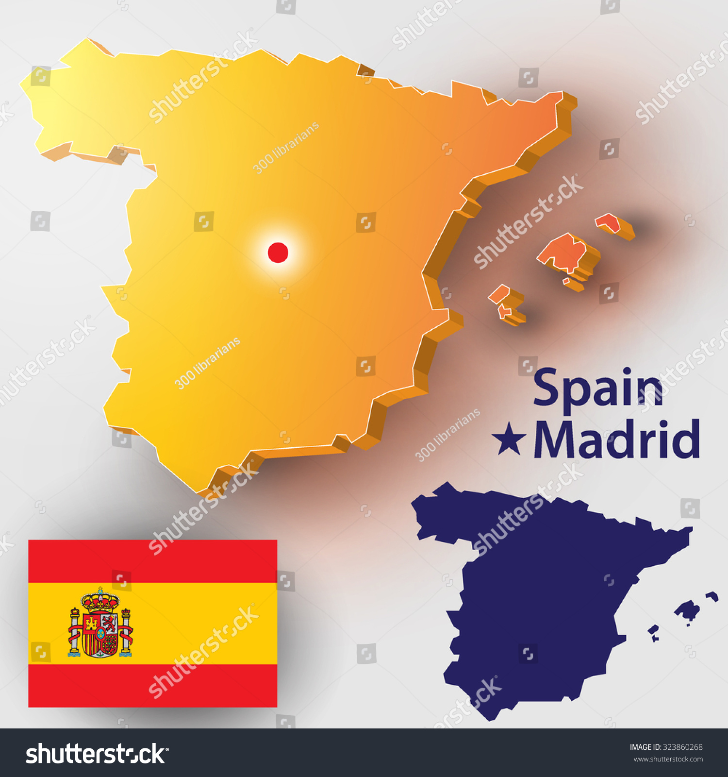 map spain vector silhouette spanish flag stock vector 323860268