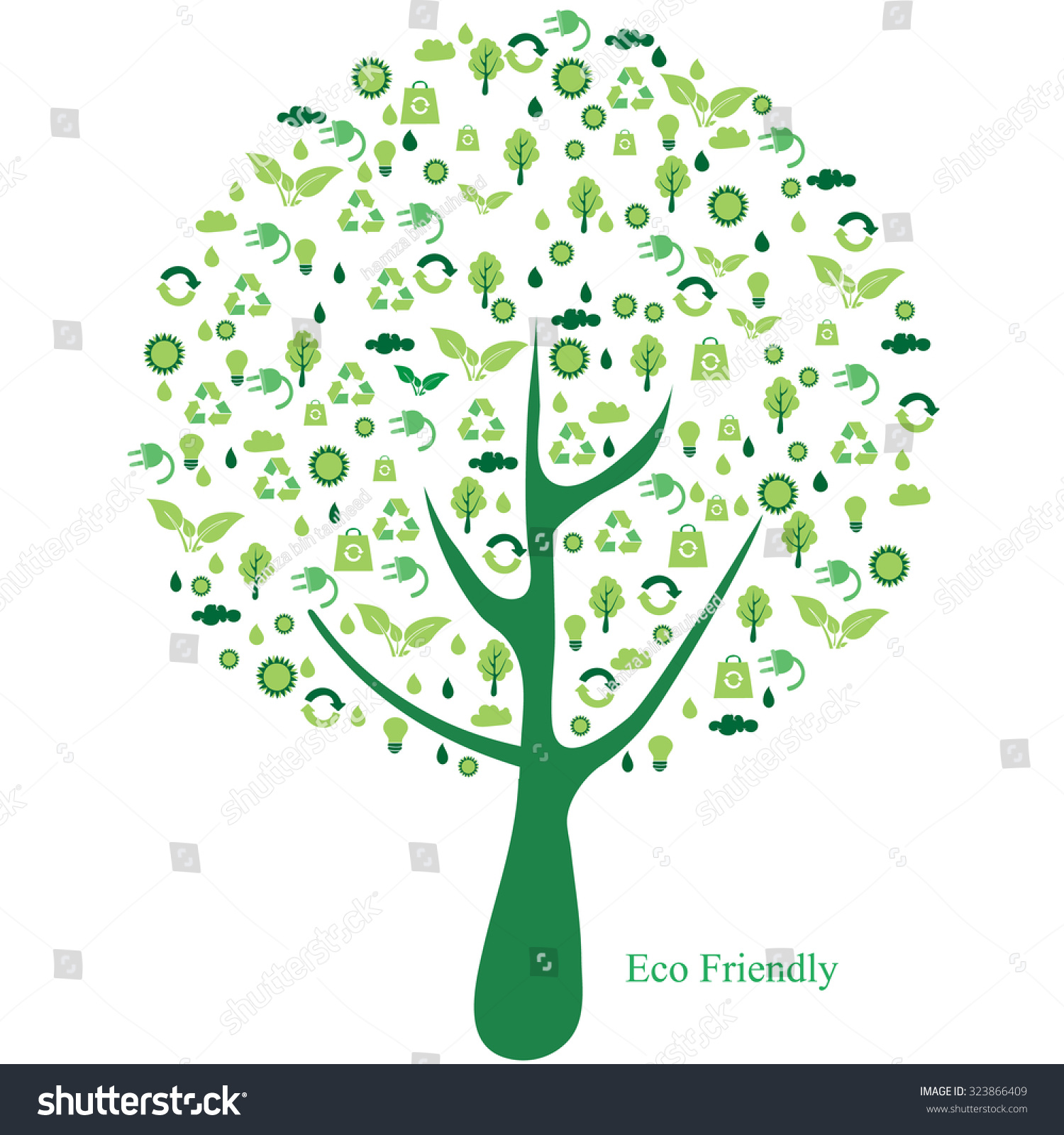 Illustration Tree Recycle Symbol Abstract Stock Vector Royalty