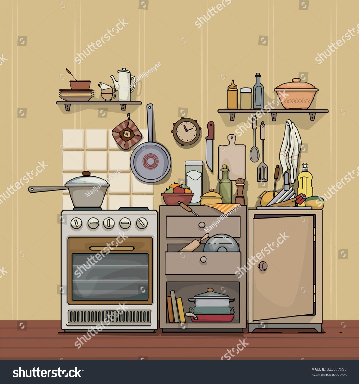 Vintage Rustic Cozy Kitchen Various Utensils Stock Vector
