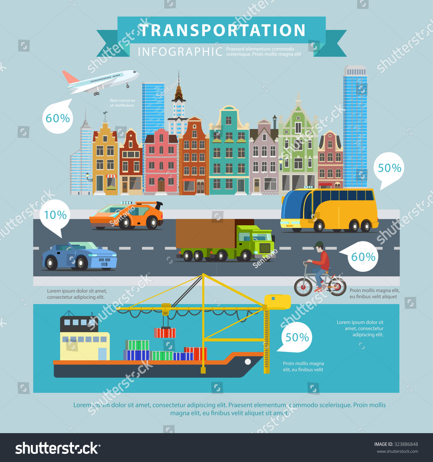 Royalty Free Transportation Delivery Flat Style 323886848 Stock Photo