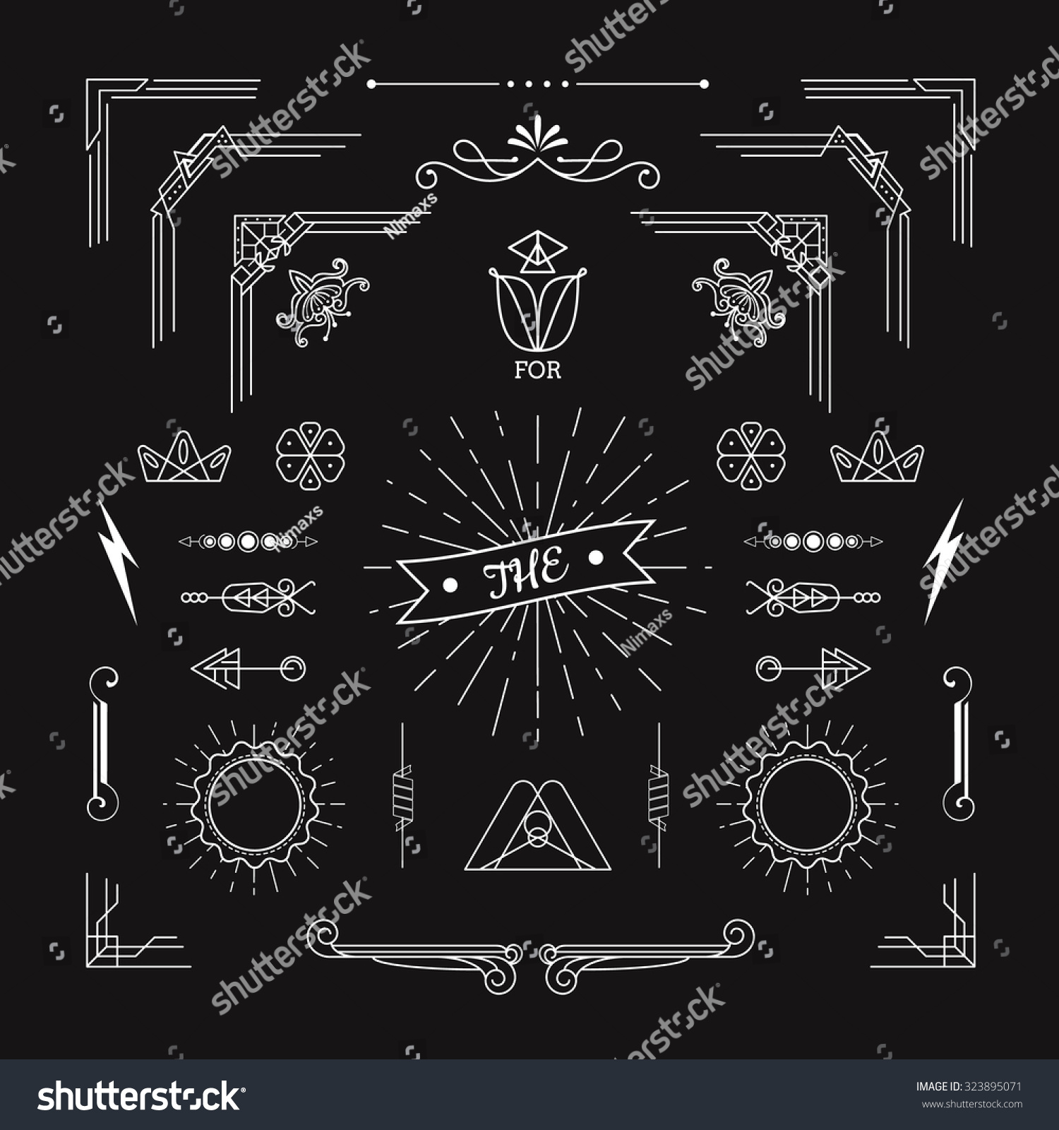 Art Deco Line Design : Set vintage geometric shape elements linear stock vector