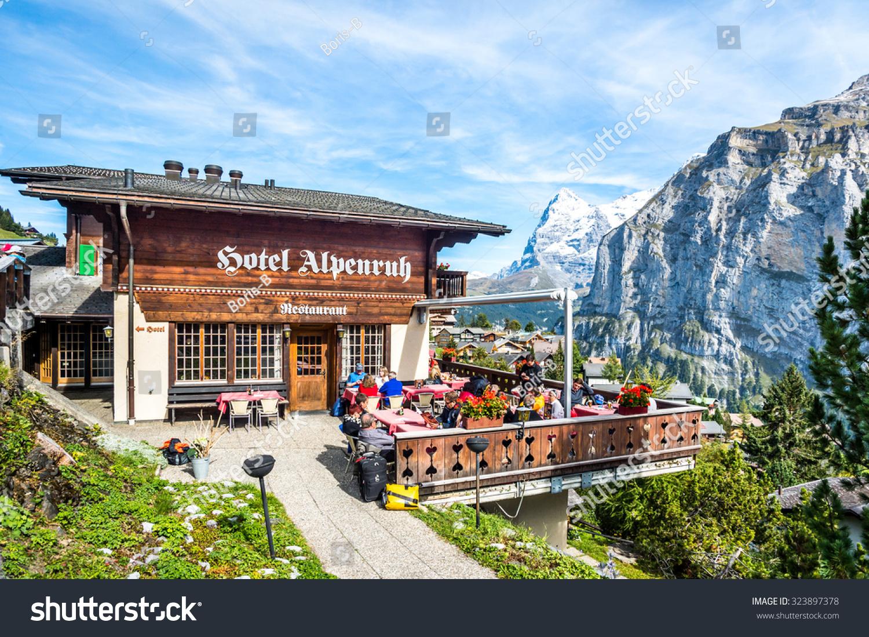 Murren Switzerland  City pictures : Murren, Switzerland September 26, 2015 : Mountain restaurant over ...