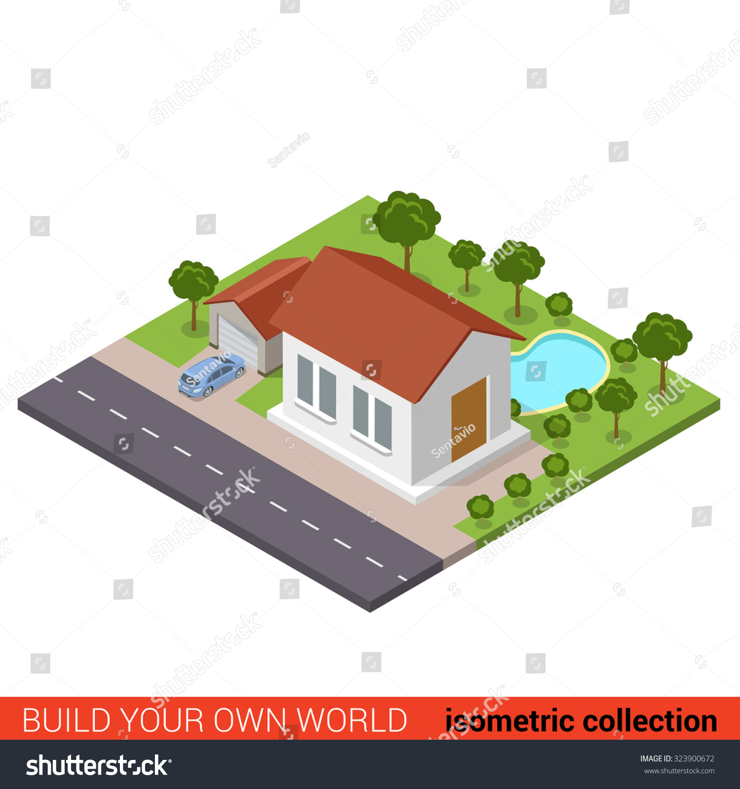 flat 3d isometric suburb family house stock vector 323900672