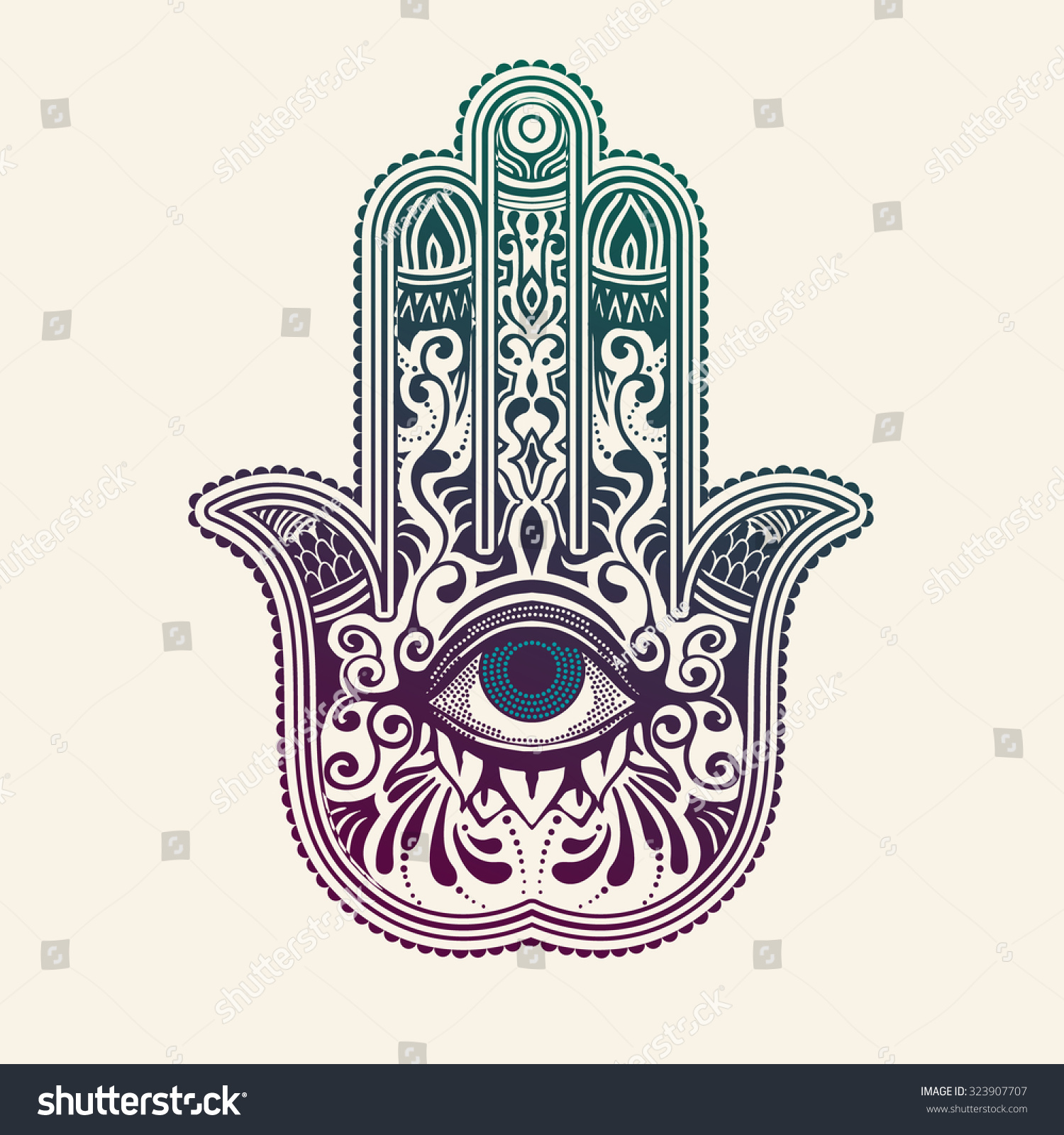 hamsa or hand of fatima good luck charm vector. Black Bedroom Furniture Sets. Home Design Ideas
