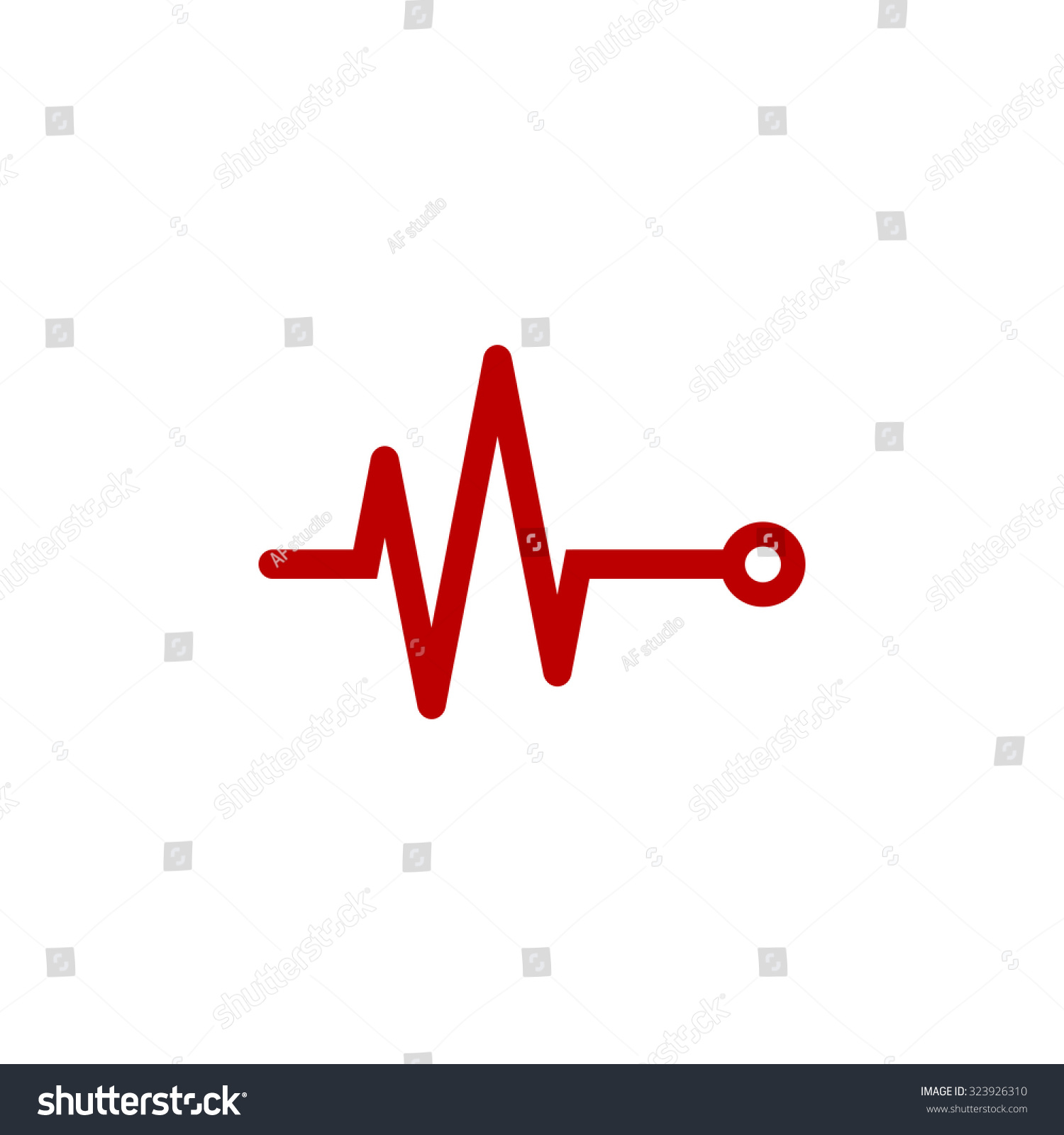 Life Line Heart Beat Cardiogram Red Stock Vector Royalty Free