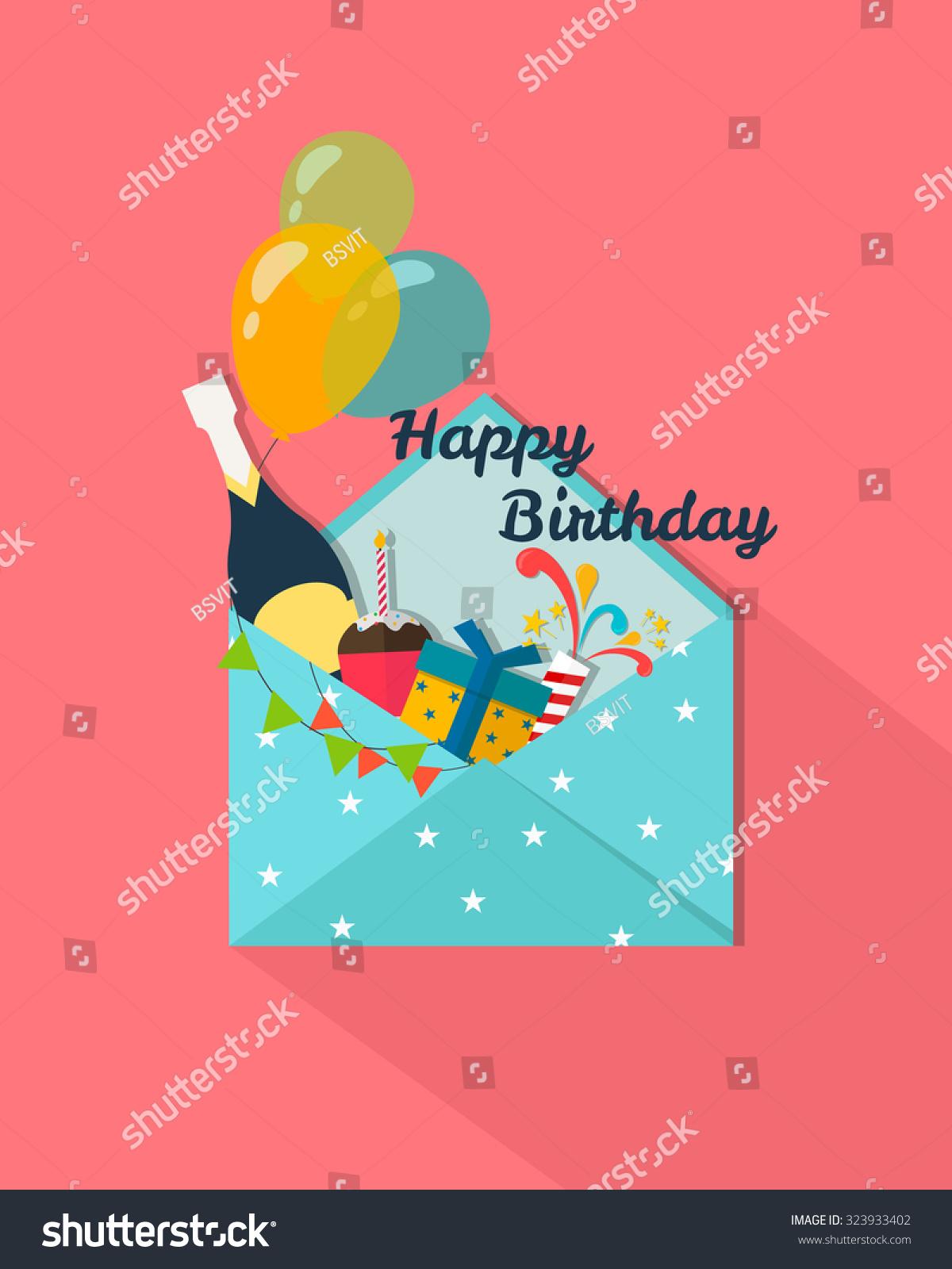 Happy Birthday Greeting CardPostal Envelopes With BalloonsCakeChampagneGift