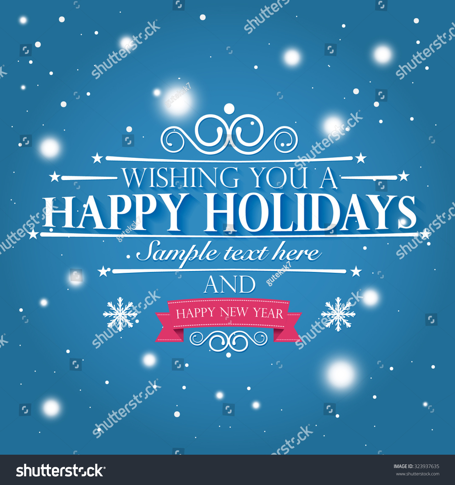 Happy Holidays Happy New Year Wishes Stock Vector Royalty Free