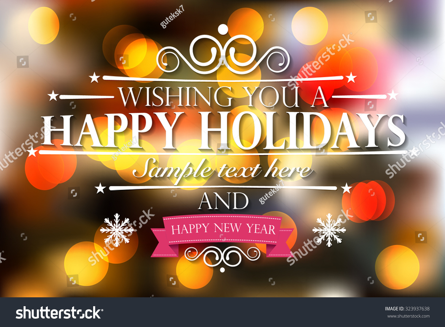 happy holidays and a happy new year wishes card on bokeh background vector illustration eps