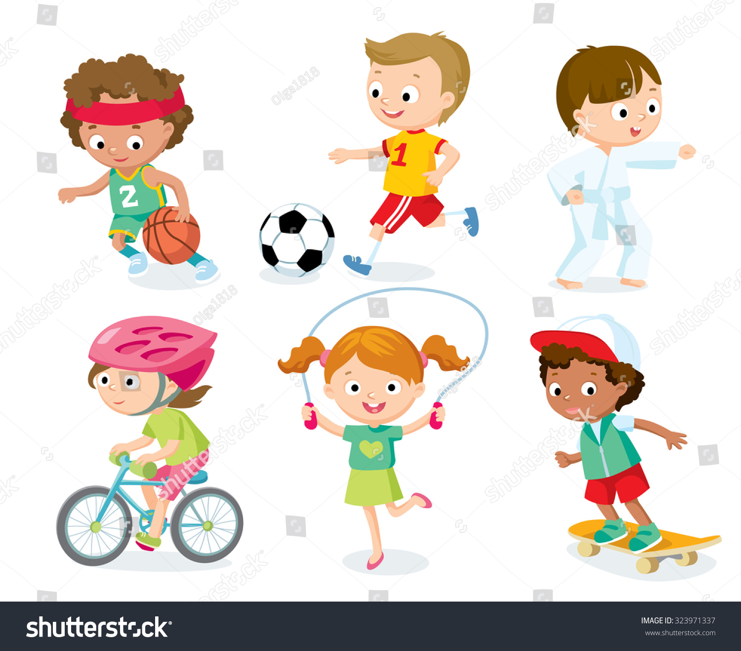 Sport Kids Including Football Basketball Bicycle Stock
