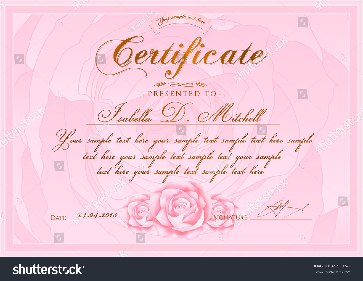 Certificate Diploma Completion Rose Design Template Stock Vector ...