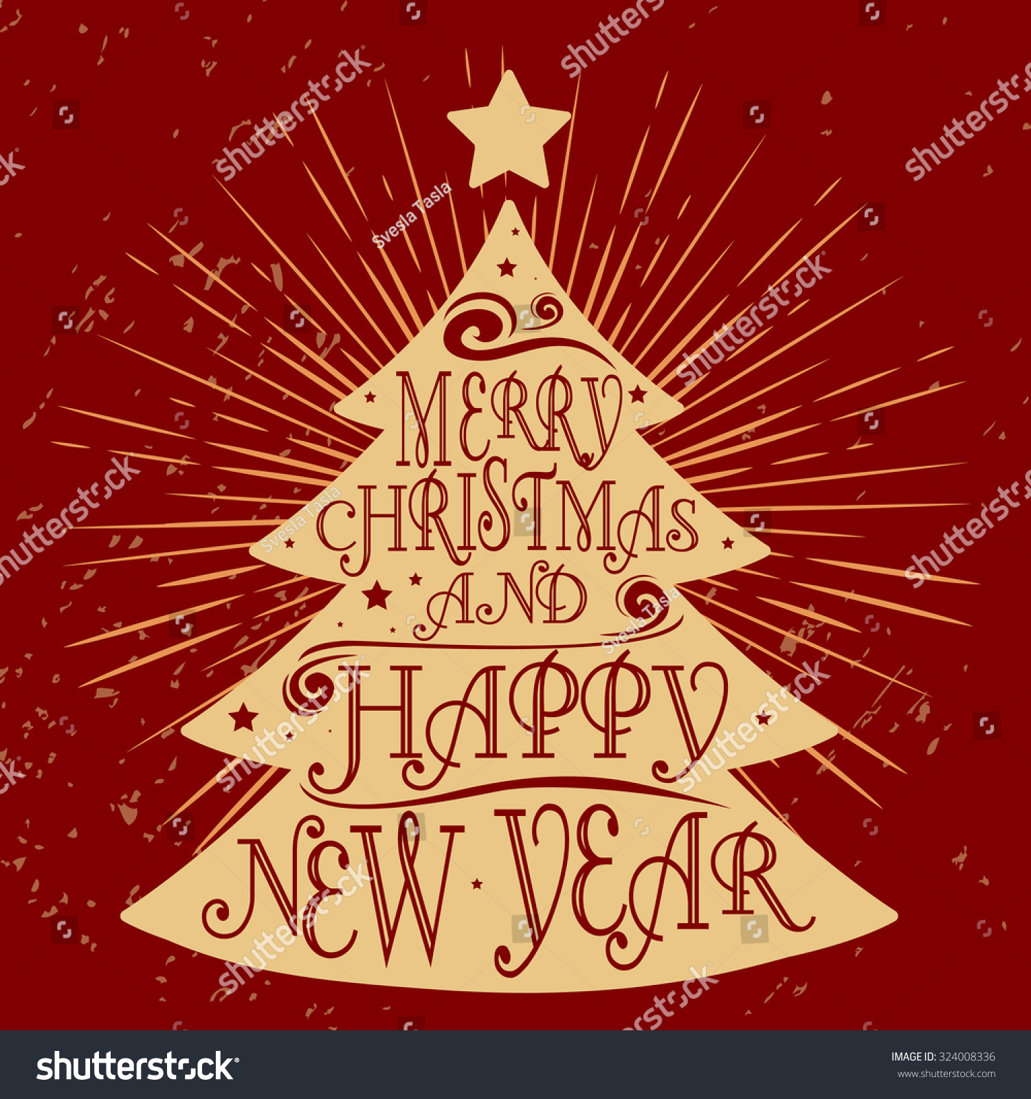 Typographical greeting card christmas tree merry stock vector typographical greeting card christmas tree merry christmas and happy new year lettering kristyandbryce Image collections