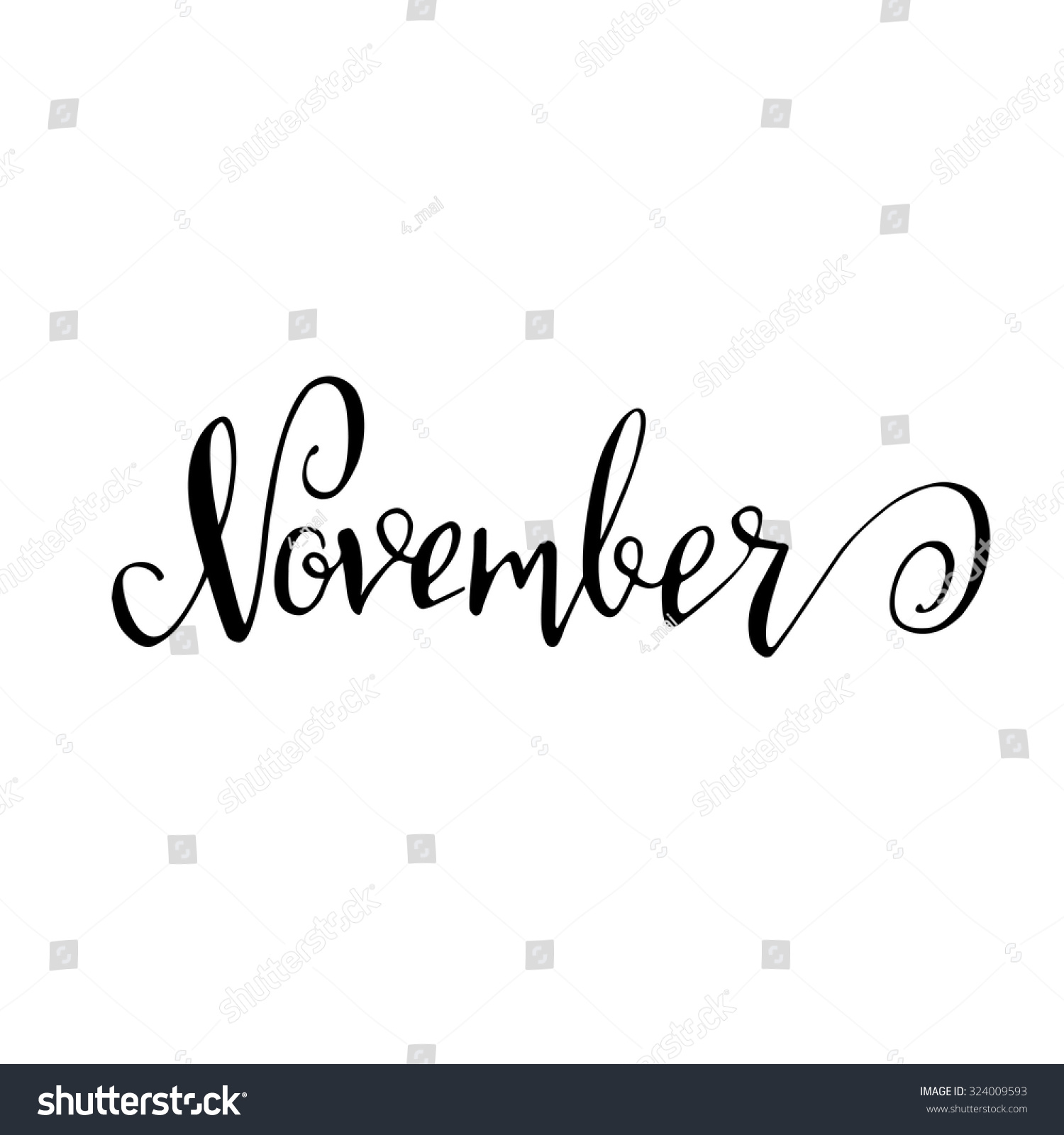November month lettering calligraphy sign isolated stock