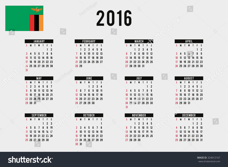 Calendar Zambia : A calendar with the flag of zambia stock vector