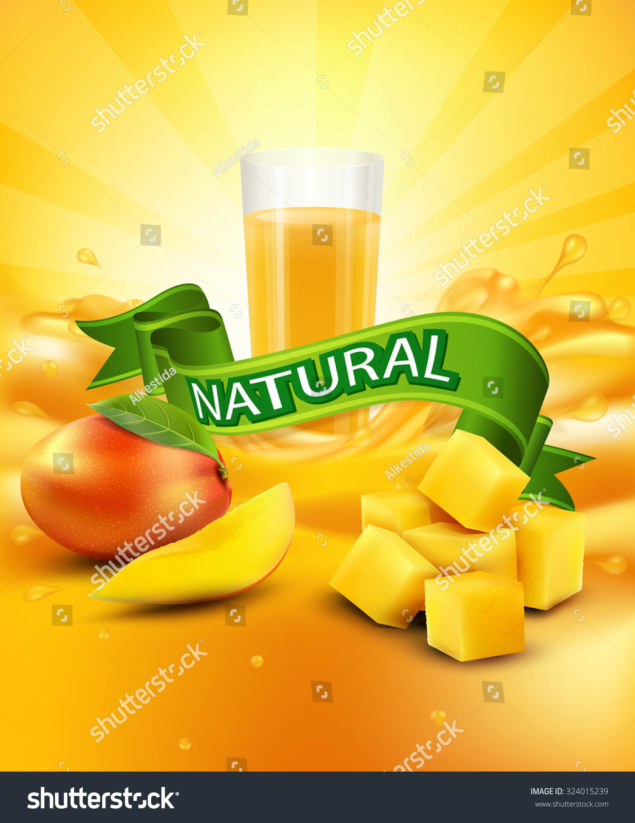 Vector Background Mango Glass Juice Slices Stock Vector ...