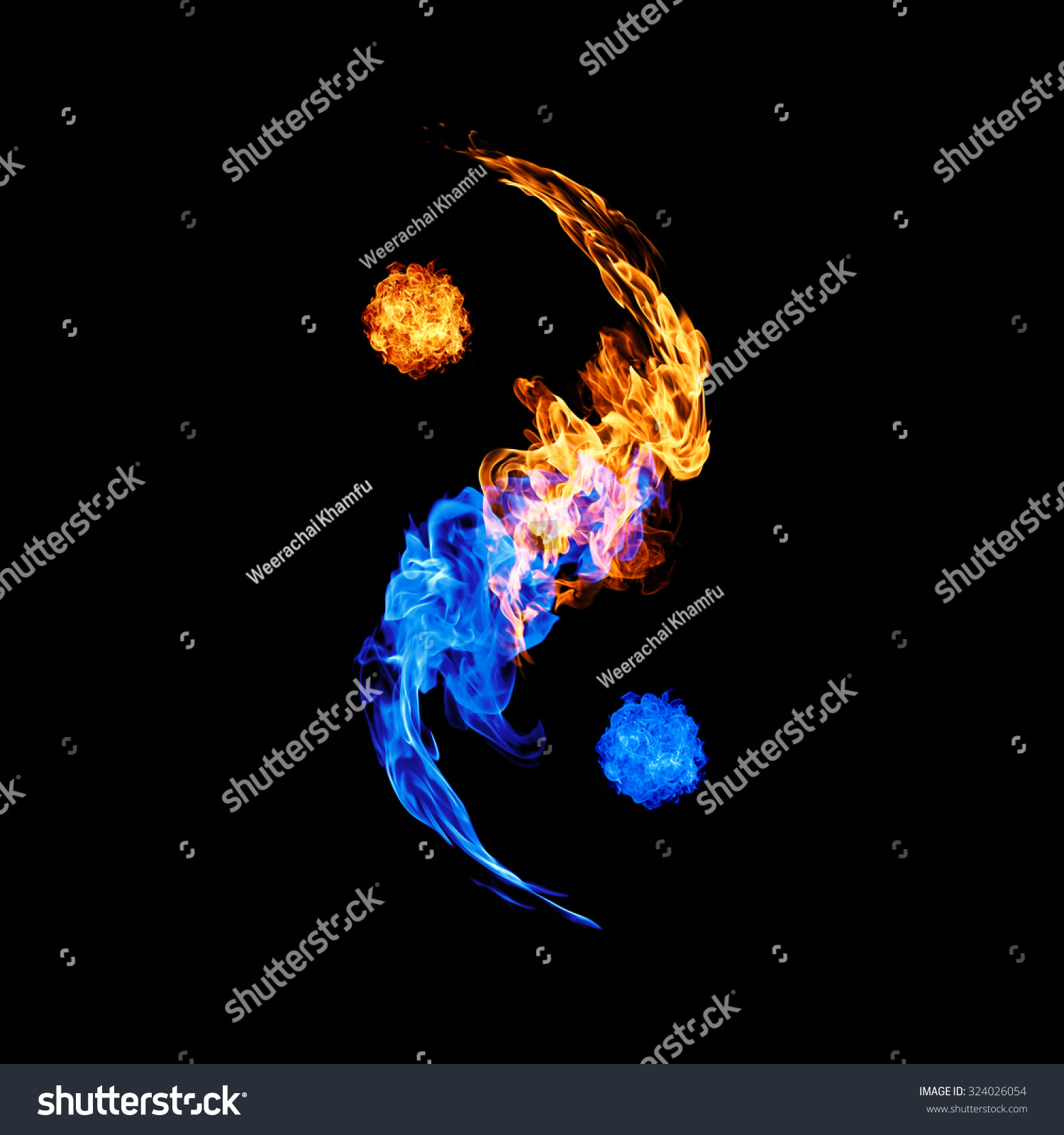 Symbol yin yang dark background form stock photo 324026054 symbol of yin and yang of the dark background in the form of fire and water biocorpaavc Choice Image