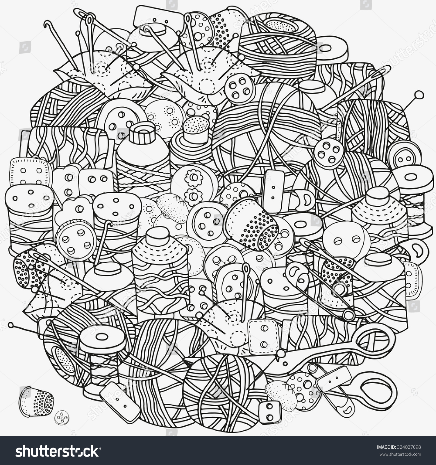 circle pattern coloring book clothes buttons stock vector