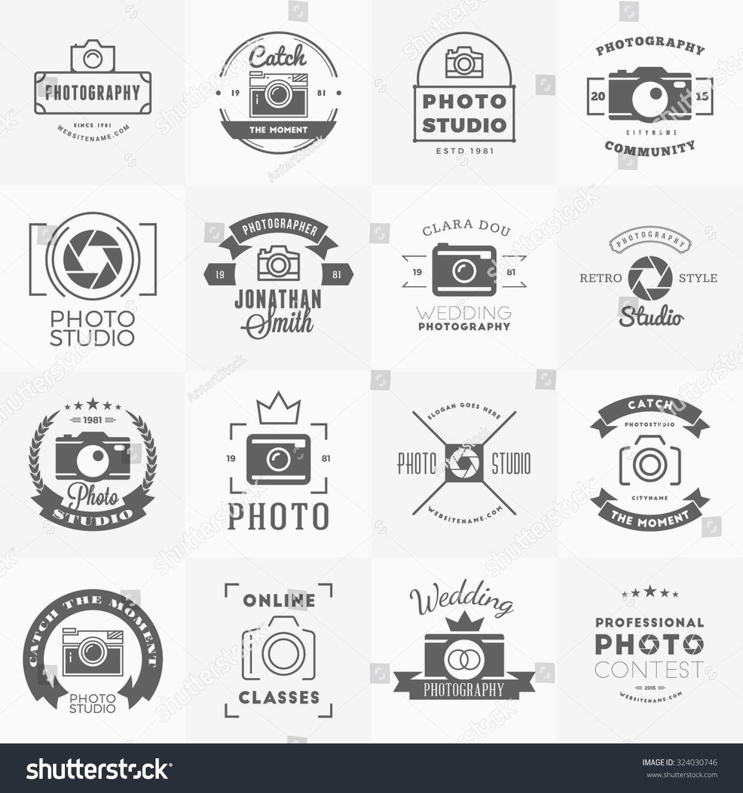 Wedding Photography Studio Logo: Vector Set Of Photography Logo Design Templates