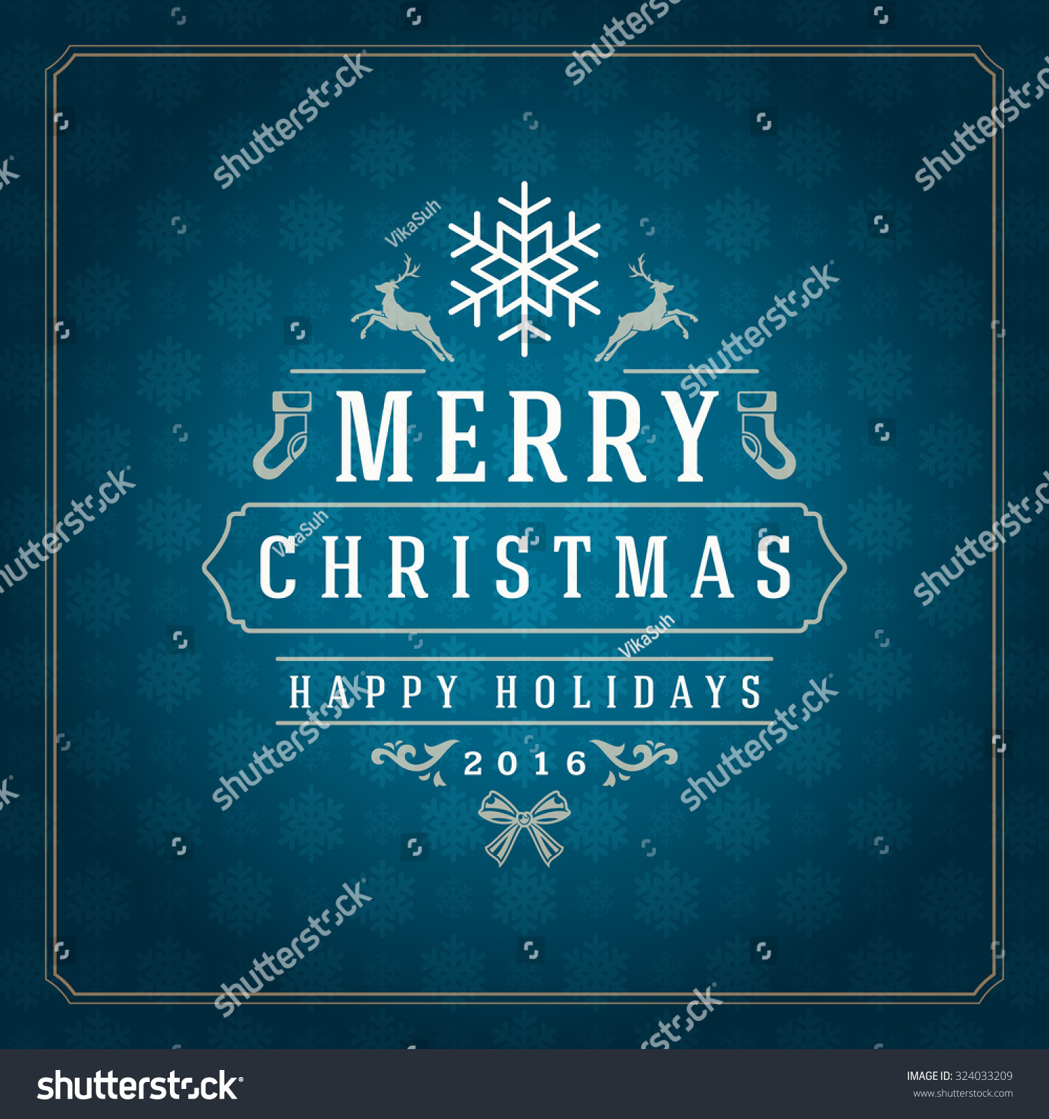 Merry Christmas Greetings Card Poster Design Stock Vector 324033209