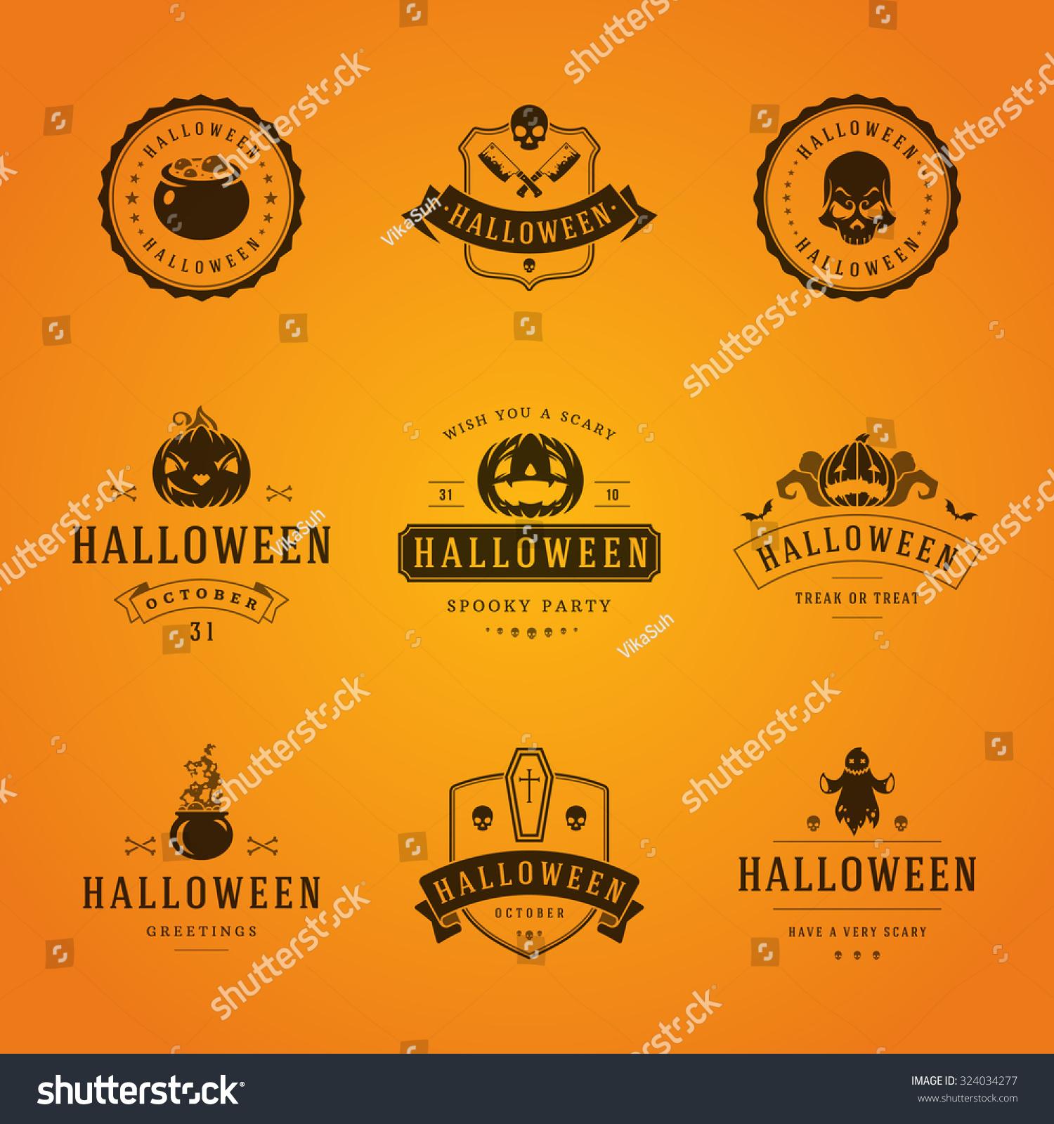 Set vintage happy halloween badges labels stock vector 324034277 set vintage happy halloween badges and labels greetings cards vector design elements kristyandbryce Images