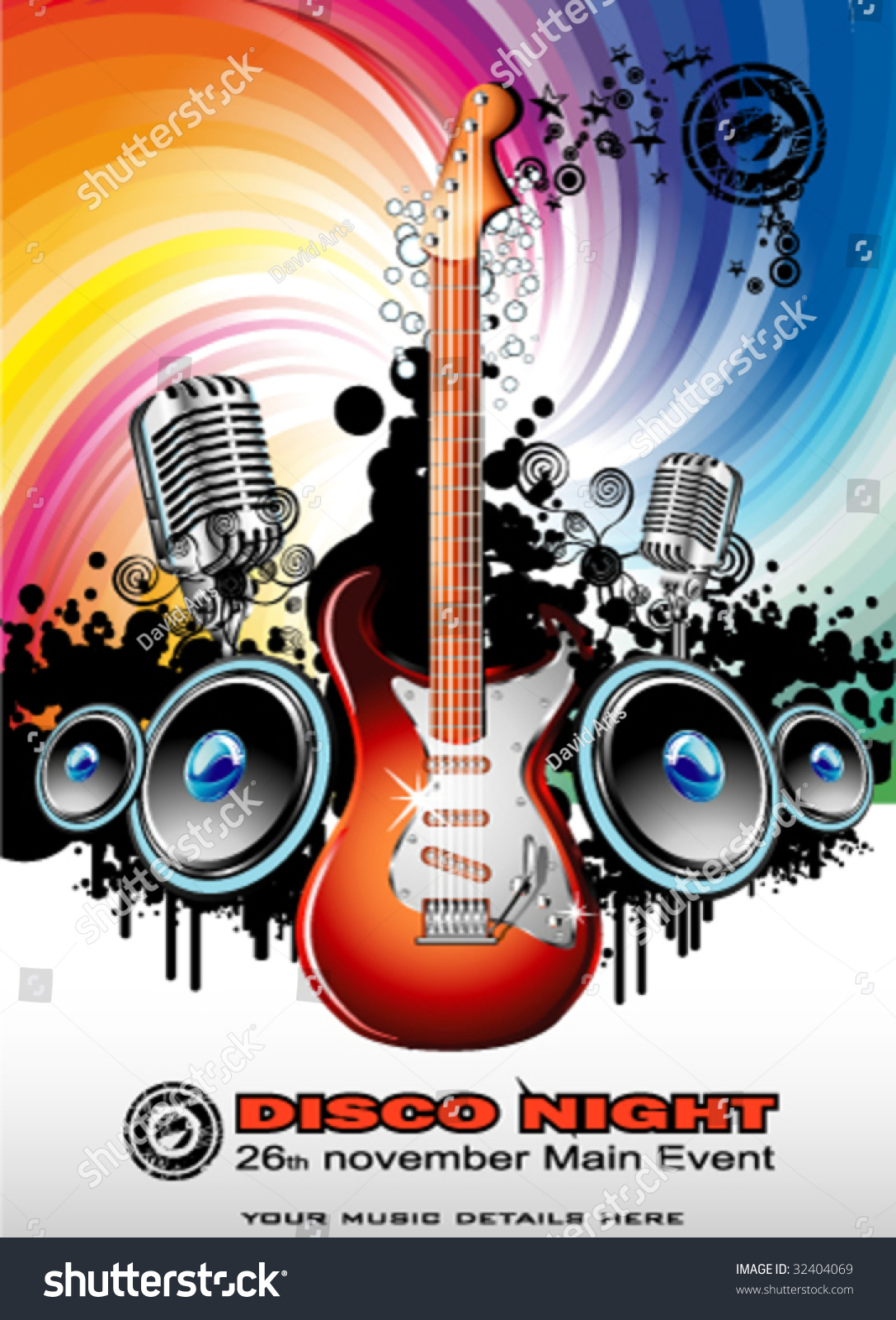Vector Music Event Background With A Colorful Electric Guitar Ez