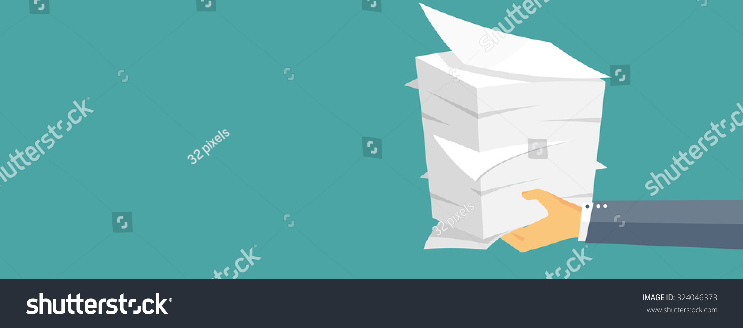 Paperwork. Flat Background With Paper. Office And Emailing. Daily ...