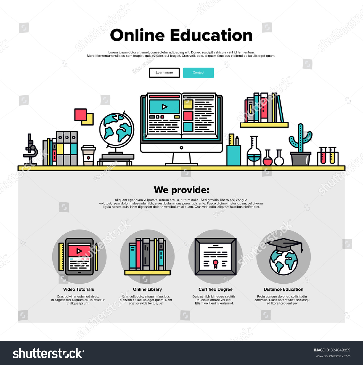 Classroom Web Design ~ One page web design template thin stock vector
