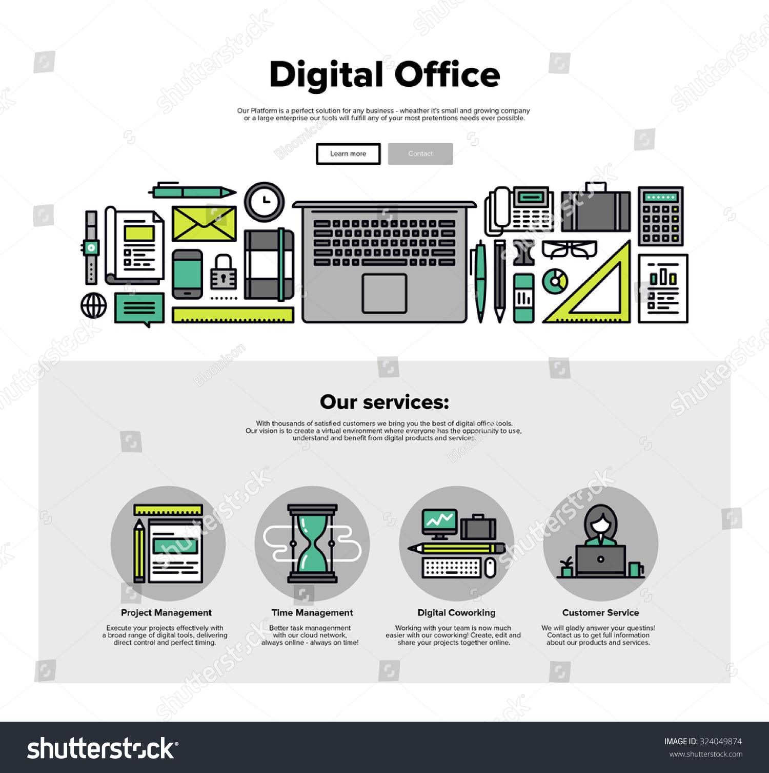 with thin line icons of digital office, project management service ...: http://www.shutterstock.com/pic-324049874/stock-vector-one-page-web-design-template-with-thin-line-icons-of-digital-office-project-management-service.html