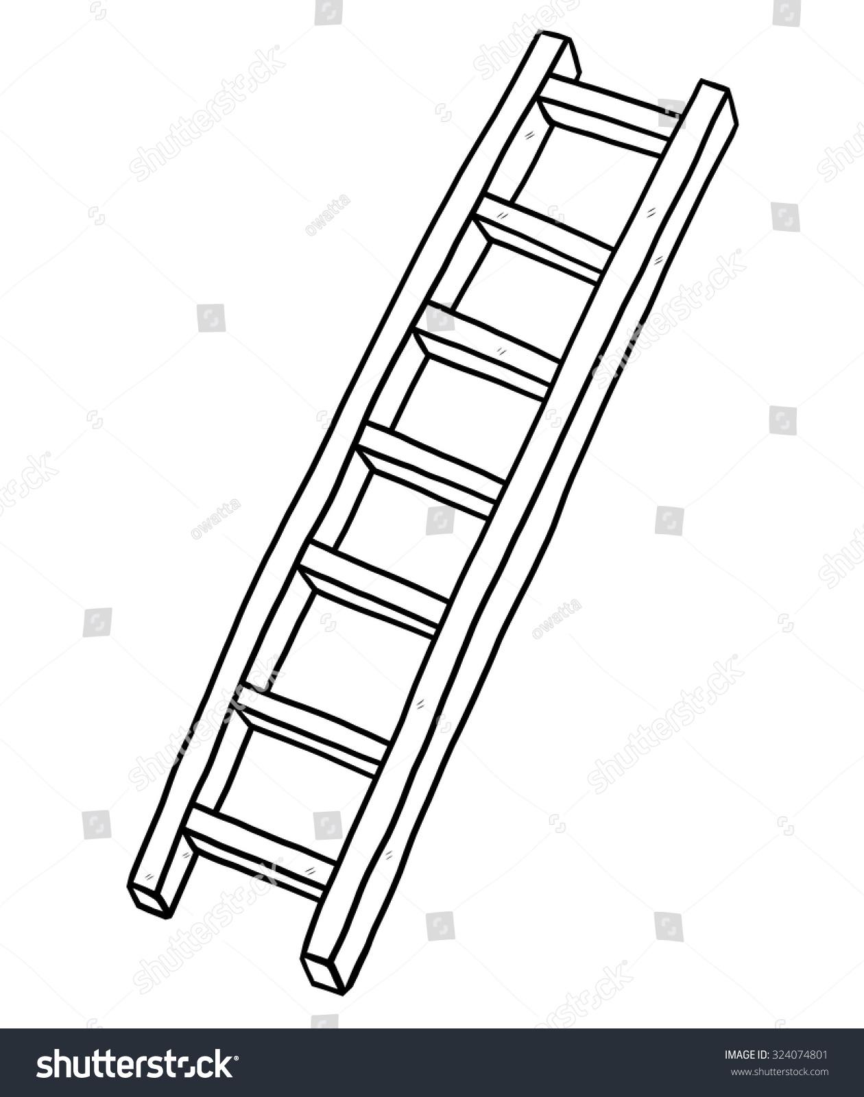 Long Ladder Cartoon Vector Illustration Black Stock Vector