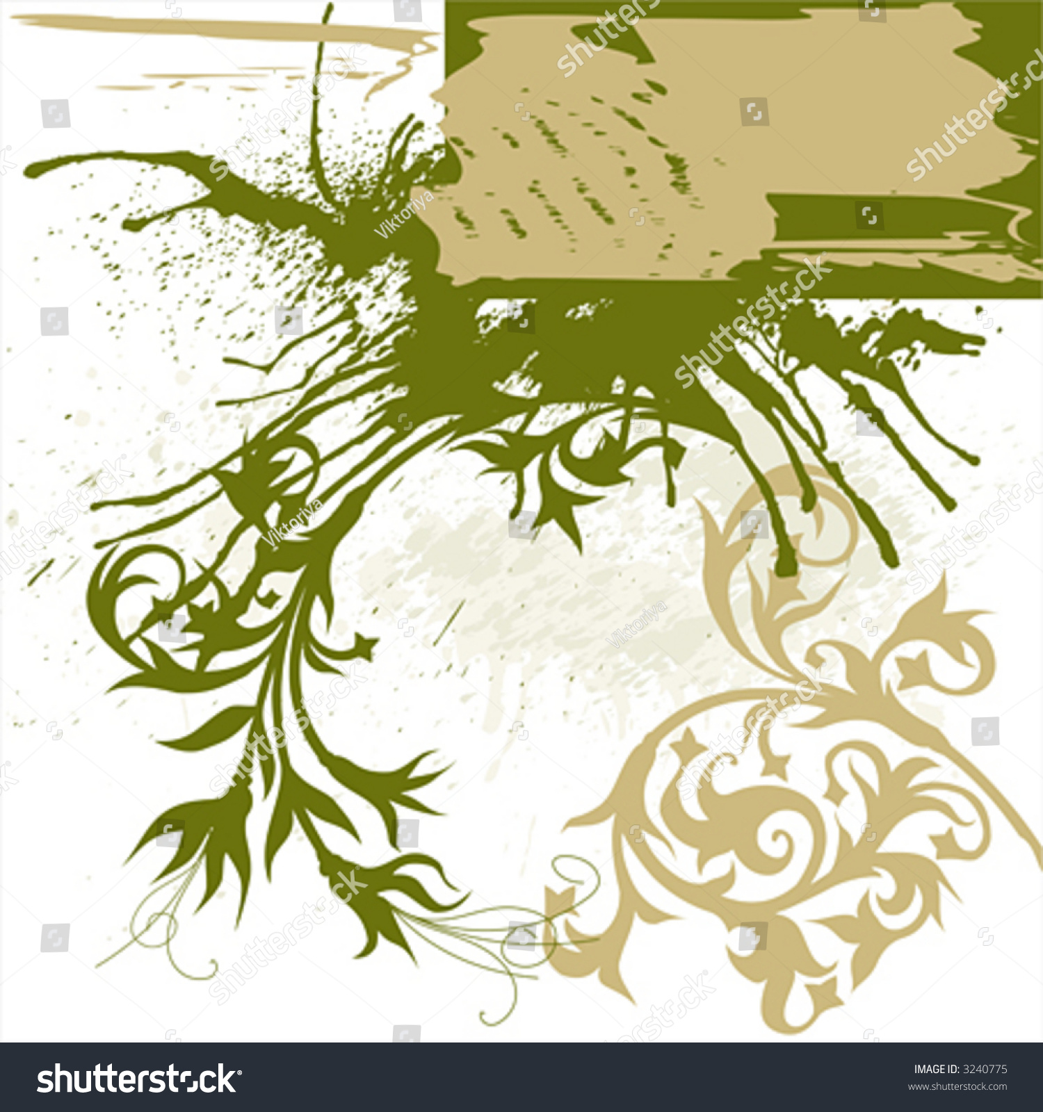 Calligraphy flowers ornament on beige grunge background