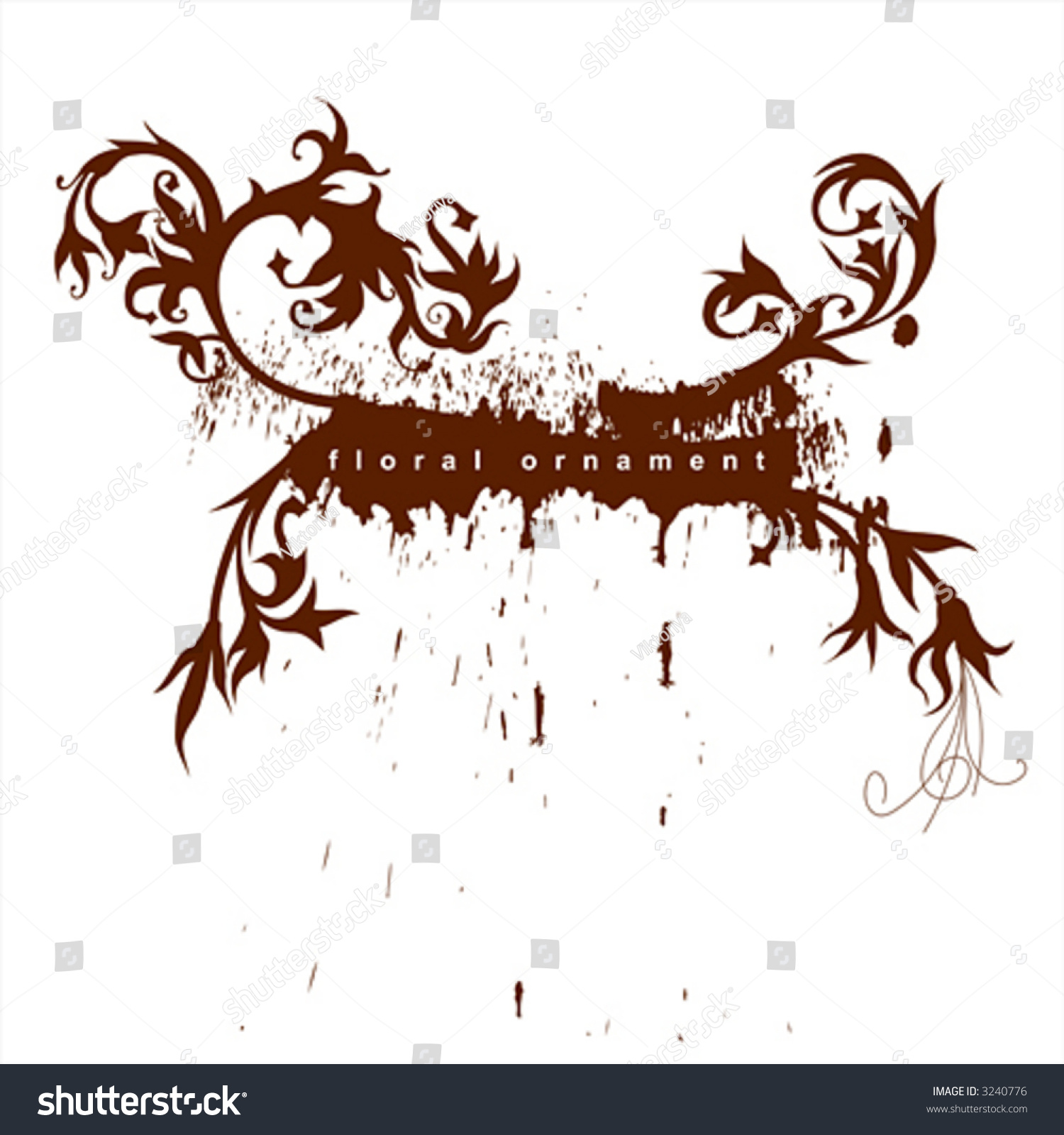Calligraphy flowers ornament on brown grunge background