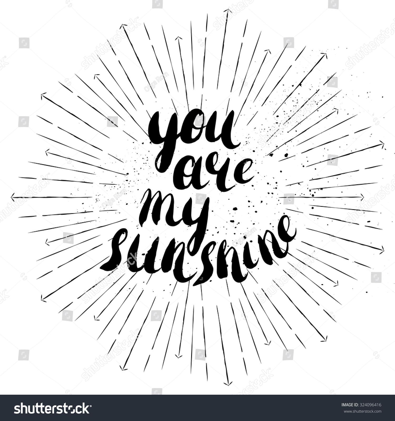 You my sunshine romantic quote valentines stock vector