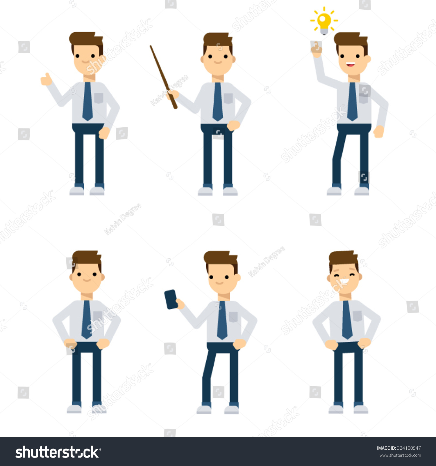 Business team cartoon characters cartoon vector cartoondealer com - Set Of Vector Flat Style Characters Office Guy In Different Static Poses