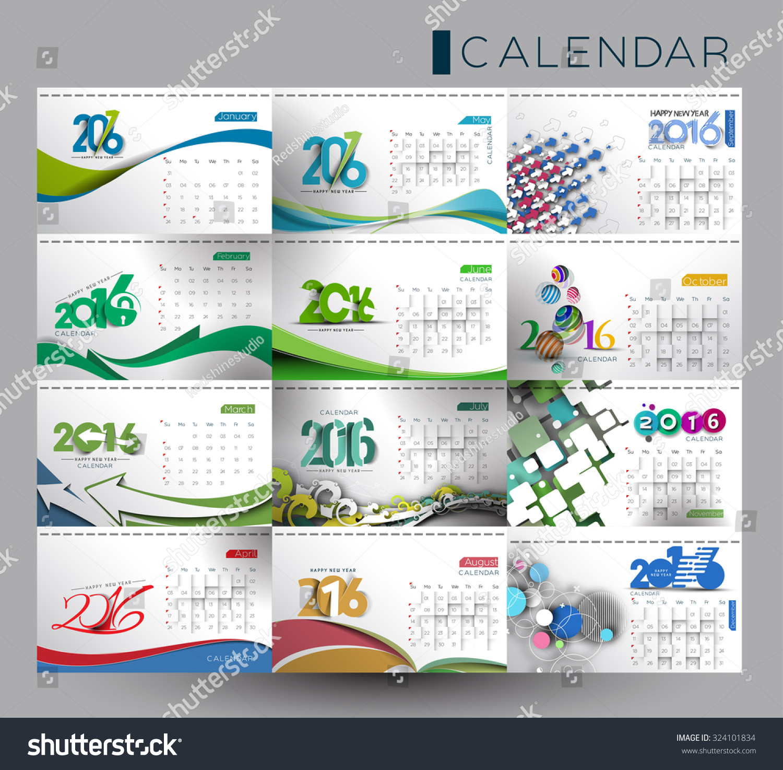 New Year Calendar Designs : Happy new year calendar design stock vector