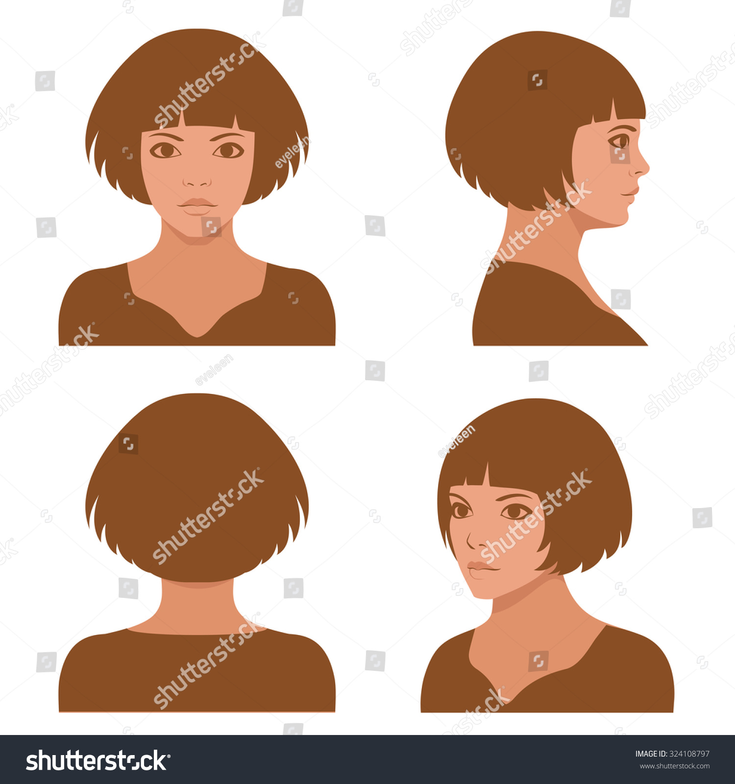 vector girl hairstyles full face profile stock vector royalty free