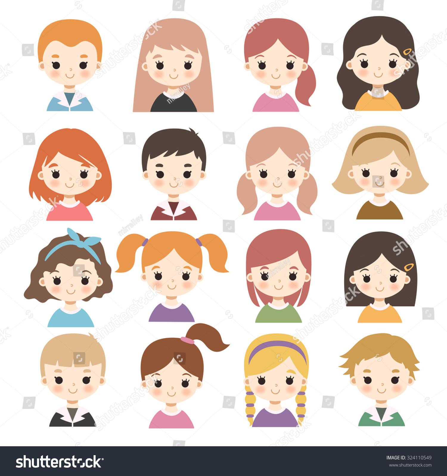 Big Set Cute Cartoon Boys Girls Stock Vector 324110549