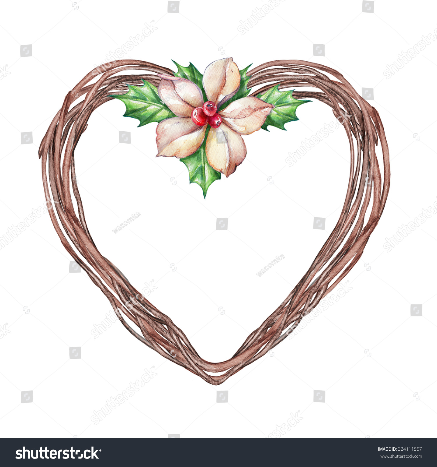 Christmas floral heart wreath round frame stock
