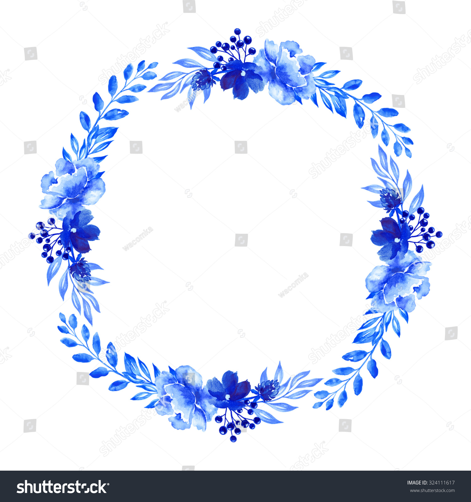 Artistic floral element abstract gzhel folk art blue flowers stock - Flowers Watercolor Illustration Wreath Blue Floral Design Element Isolated On White Background