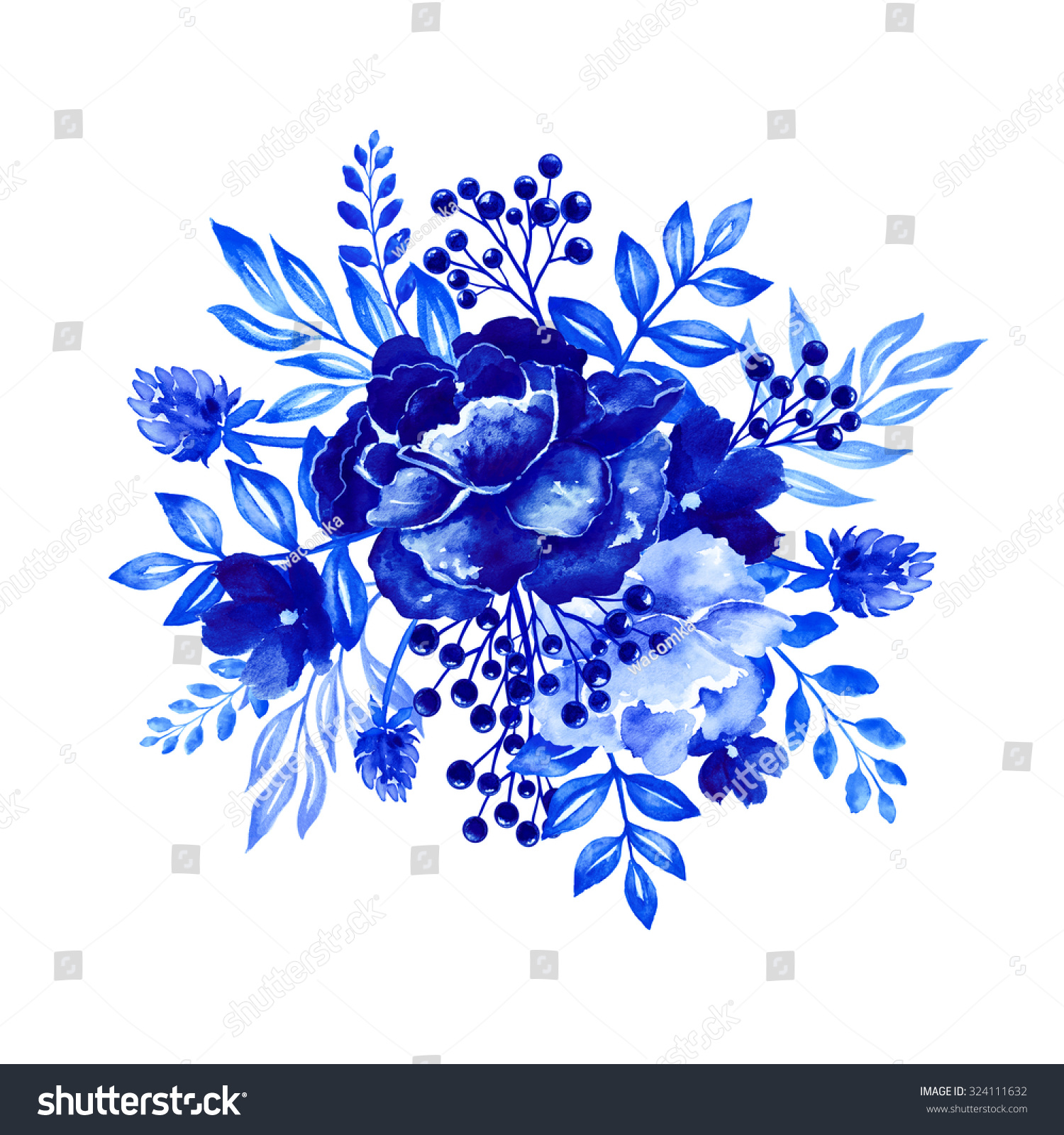 Artistic floral element abstract gzhel folk art blue flowers stock - Flowers Watercolor Illustration Bouquet Blue Floral Design Element Isolated On White Background